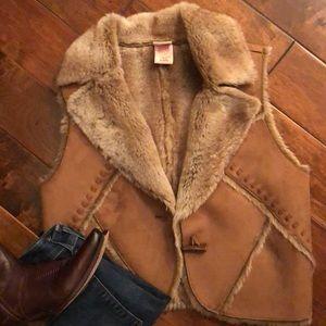 Faux suede & fur vest